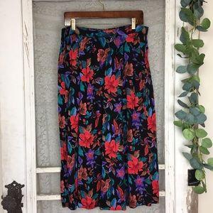 Vintage Tropical Pleated Floral Midi Skirt L